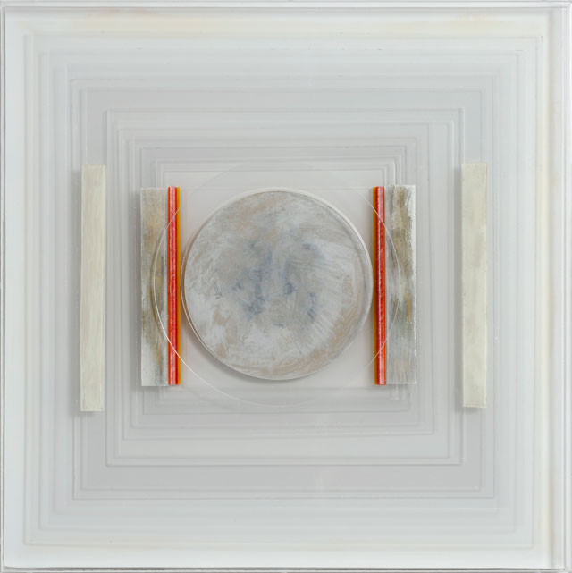 Paul Feiler. Square Relief LIII, 2011. Silver and gold leaf, aluminium, perspex, 16 x 16 in. © Redfern Gallery and the Estate of Paul Feiler.