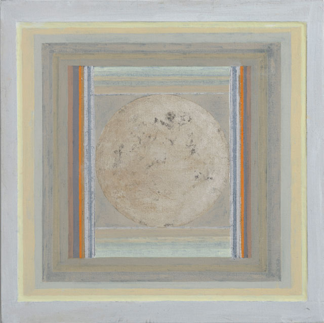 Paul Feiler. Zenytum X, 2012. Oil and silver leaf on canvas, 20 x 20 in. © Redfern Gallery and the Estate of Paul Feiler.