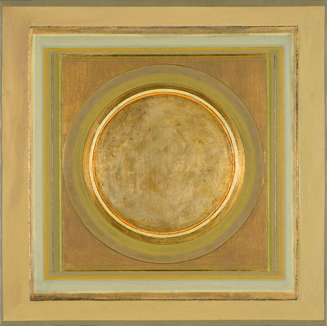 Paul Feiler. Janicon XCIX, 2005. Silver and gold leaf, gesso, canvas on board, 24 x 24 in. © Redfern Gallery and the Estate of Paul Feiler.