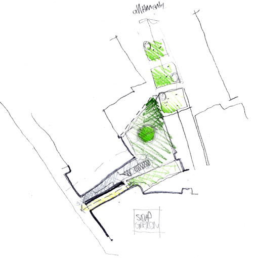 Fergus Purdie Architect. Extract from  design notebook investigating the external courtyard area and potential (soup garden) to extend towards adjoining gardens.