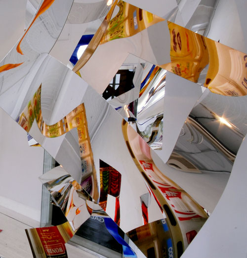 Machiko Agano. <em>Untitled</em>, 2011. Five pieces, inkjet-printed mirror sheet. Each 98½ × 39⅜ × 39⅜ in (250 × 100 × 100 cm). Courtesy of the artist.