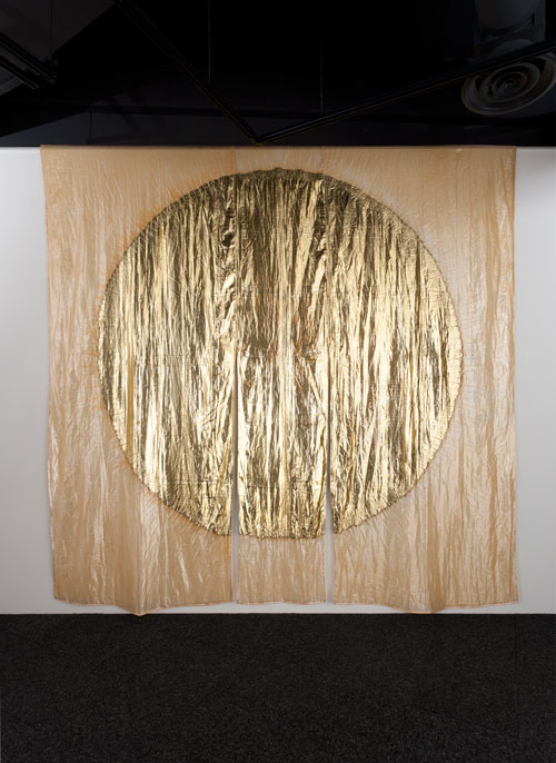Jun'ichi Arai. <em>Flame-resistant shop curtain</em>, 2005. Polyphenylene sulfide (PPS) film, vacuum-deposited aluminum. 142 × 142 in. (360 × 360 cm). Photo: Mareo Suemasa. Courtesy of the artist.
