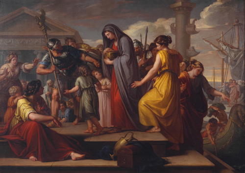 Gavin Hamilton. Agrippina Landing at Brindisium with the Ashes of Germanicus, 1765-72. Oil paint on canvas, 182.5 x 256 cm. Tate.