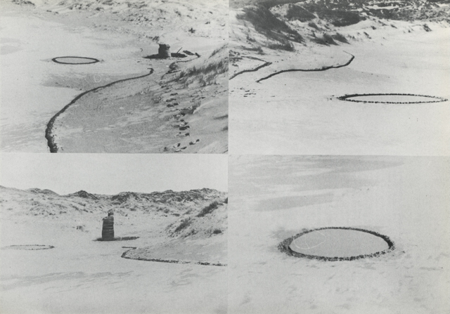 Barry Flanagan. Ring, line and easter bag '67, 1967, Holywell Beach, Cornwall, as documented in Gerry Schum (Ed), LAND ART, Hartwig Popp, Hanover, 1970 © The Estate of Barry Flanagan, 2015.