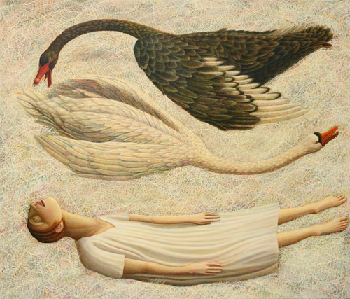 Helen Flockhart. Black Swan, White Swan, 2014. Oil on linen, 90 x 105 cm. © Helen Flockhart.