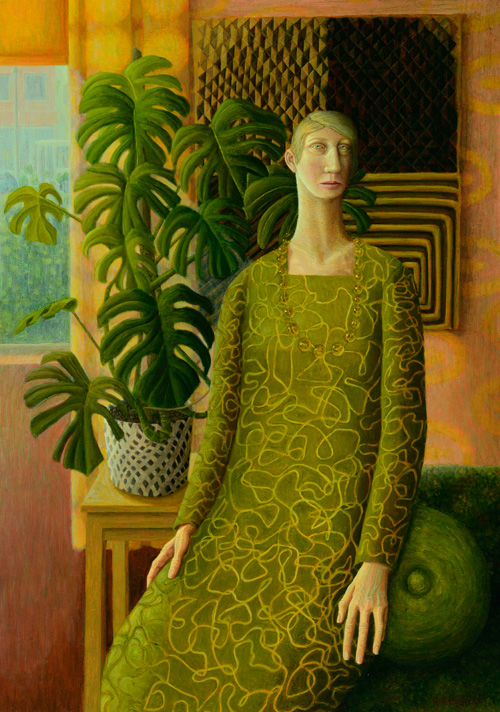 Helen Flockhart. Woman with Textile, 2013. Oil on board, 58.5 x 40.5 cm. © Helen Flockhart.