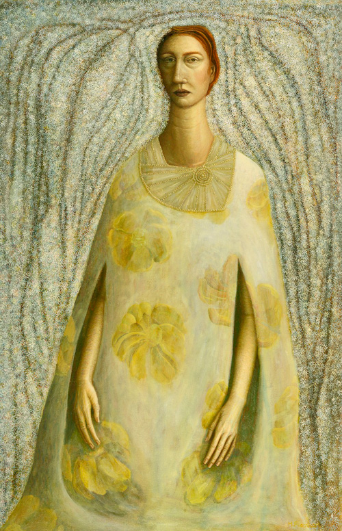 Helen Flockhart. Yellow Flowered Dress, 2014. Oil on linen, 71 x 45 cm. © Helen Flockhart.