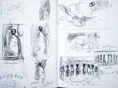 Helen Flockhart. Pages from an A6 sketchbook. Pen and pencil on cartridge paper, 2014. © Helen Flockhart.