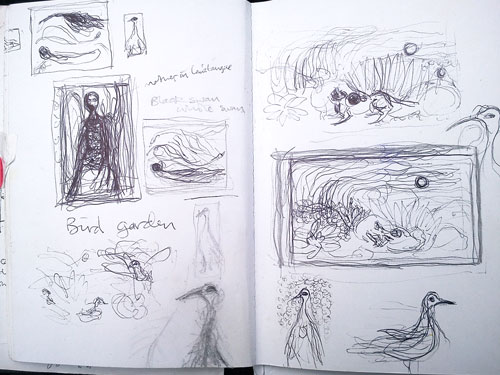 Helen Flockhart. Pages from an A6 sketchbook (2). Pen and pencil on cartridge paper, 2014. © Helen Flockhart.