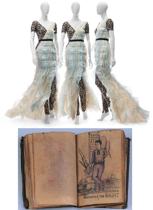 Top: Original ensemble by Bibhu Mohapatra. Photograph: Mete Ozeren. Below: Tattoo Pattern Book, artist unidentified. New York City, 1873–1910. Ink on oiled cloth, with buckram binding, 4 1/2 x 3 1/4 x 3/4 in (closed). Collection American Folk Art Museum, New York. Anonymous gift. Photograph: Gavin Ashworth, New York.