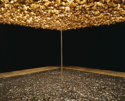 Cildo Meireles. Mission/Missions (How to build cathedrals), 1987. Coins, bones, communion wafers, light, paving stones and fabric, approx 300 x 600 x 600 cm. Daros Latinamerica Collection, Zürich. Photograph: Zoe Tempest, Zürich