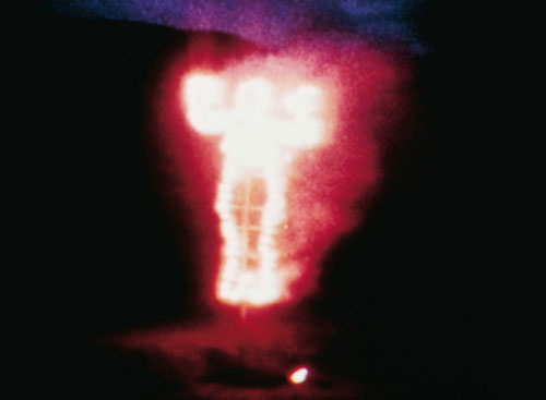 Ana Mendieta. Soul, Silhouette of Fireworks, Oaxaca, Mexico, 1976. Soul, Silhouette of Fireworks, Oaxaca, Mexico. Single channel video, transferred from 8mm colour film, video: 3:00 min, colour, silent. Daros Latinamerica Collection, Zürich. Video Still: Zoe Tempest, Zürich. © The Estate of Ana Mendieta, courtesy of Galerie Lelong, New York.