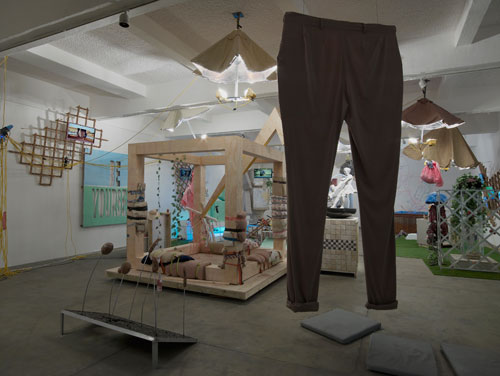 Ed Fornieles, Modern Family,  2014, installation view (1). Commissioned by Chisenhale Gallery. Courtesy of Carlos/Ishikawa, London. Photograph: Andy Keate.