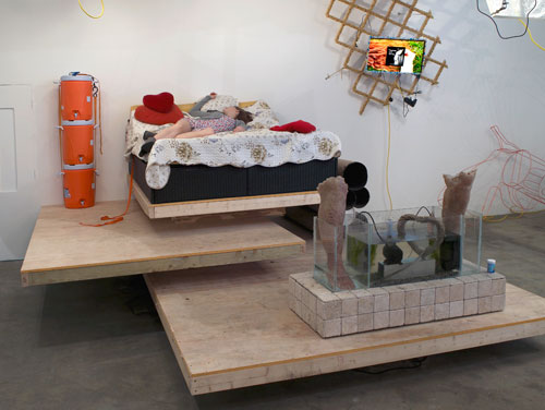 Ed Fornieles, Modern Family,  2014, installation view (5). Commissioned by Chisenhale Gallery. Courtesy of Carlos/ Ishikawa, London. Performer: Flora Wellesley Wesley. Photograph: Andy Keate.