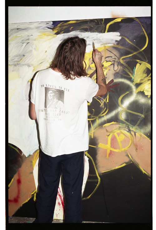Danny Fox painting at Tim Noble and Sue Webster's studio in London, 2015. Photograph: Jack Whitefield.