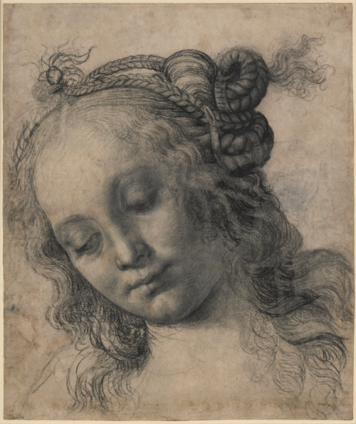 Andrea del Verrocchio. <em>Head of a woman</em>, 1470s. Charcoal and white heightening. The artist was a Florentine goldsmith, sculptor and painter whose busy and productive workshop attracted students such as Leonardo and Lorenzo di Credi to work there. Copyright the Trustees of the British Museum.
