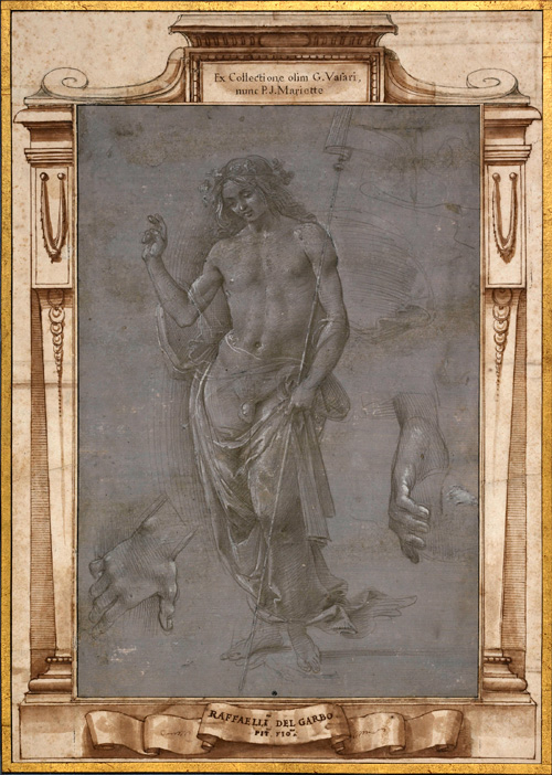 Raffaellino del Garbo (about 1466-1524). <em>Risen Christ</em>, about 1495-7. Silverpoint, heightened with lead white (partly discoloured), over stylus, on grey preparation. Copyright the Trustees of the British Museum.