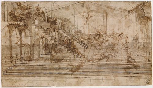 Leonardo da Vinci (1452-1519). Study for the background of the <em>Adoration of the Magi</em>, about 1481. Metalpoint, pen and brown ink, brown wash, touches of lead white heightening, over stylus and compass incising, on cream preparation. Copyright the Gabinetto Disegni e Stampe degli Uffizi.