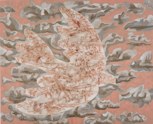 Francesco Clemente. The dove of war, 2012. Pigments on linen, 231.1 x 284.5 cm / (91 x 112 in).