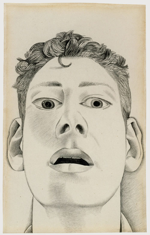 Lucian Freud. <em>Startled Man: Self Portrait (for Equilibriad, 1948),</em> 1948. Pencil 22.9 x 14.3 cm (9.02 x 5.63 in). © Lucian Freud, courtesy of the Lucian Freud Archive.