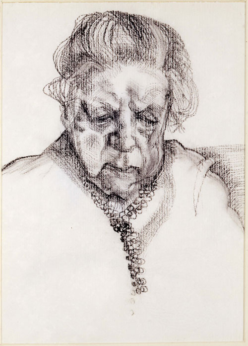 Lucian Freud. <em>The Painter's Mother,</em> 1983. Charcoal and pastel, 32.4 x 24.8 cm (12.76 x 9.76 in). © Lucian Freud, courtesy of the Lucian Freud Archive.