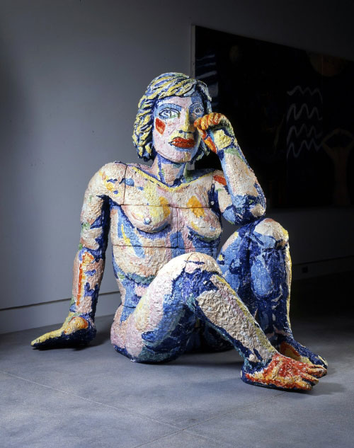 Viola Frey. <em>Weeping Woman,</em> 1990-1991. Ceramic with glazes. Collection of Norton Museum of Art, West Palm Beach, Florida, Purchase, the Rose L. Kraft Fund, 92.2.