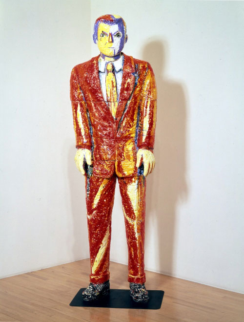 Viola Frey. <em>Fire Suit</em>, 1983. Ceramic with glazes and steel. Collection of San Jose Museum of Art, California, Museum purchase with funds contributed by the Museum