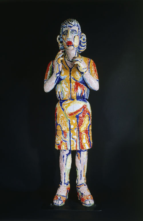 Viola Frey. <em>Group Series: Questioning Woman 1,</em> 1988. Glazed earthenware. Museum purchase with funds provided by the National Endowment for the Arts, matching funds from the Associates of the American Craft Museum, and contributions from the general public, 1991.