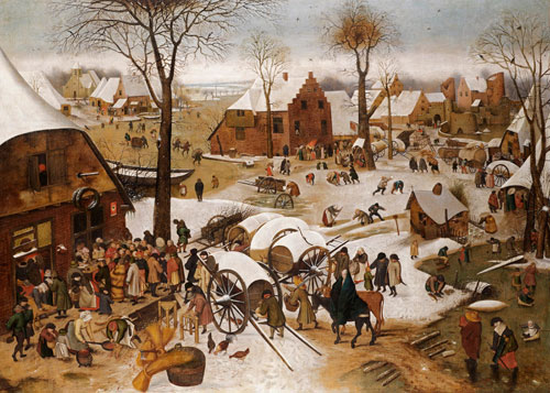 Pieter Brueghel the Younger. (Brussels 1564 – 1638 Antwerp). The Census at Bethlehem. On canvas, 122.7 x 171.7 cm (48 ¼ x 67¾ ins). Courtesy Johnny Van Haeften Ltd.