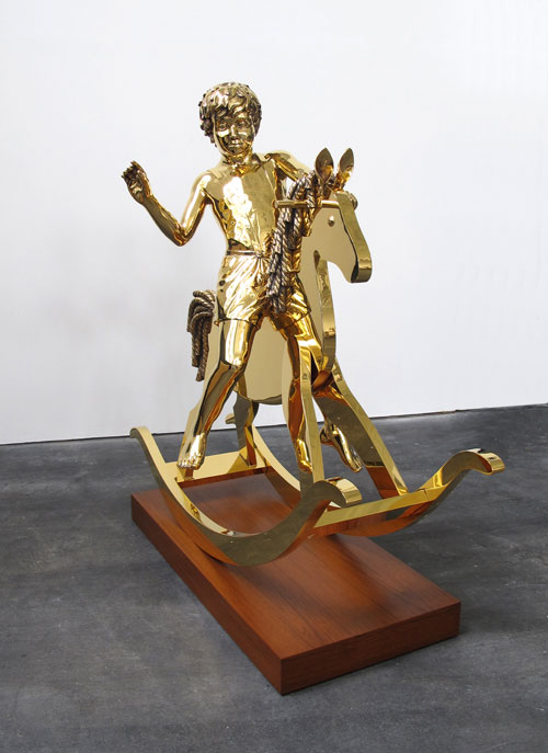 Elmgreen & Dragset. Powerless Structures, Fig. 101, 2013. Sculpture: 24-carat gold plated. Plinth: wood, 152 x 160 x 65 cm (59 7/8 x 63 x 25 5/8 in). Photograph: Holger Hönck.