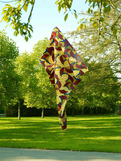 Yinka Shonibare, MBE. Wind Sculpture, 2013. Steel armature with hand painted fibre glass resin cast, 610 x 340 x 80cm (240 1/4 x 134 x 31 1/2in). Copyright the artist. Courtesy of the artist and Stephen Friedman Gallery, London. Photograph: Stephen White.