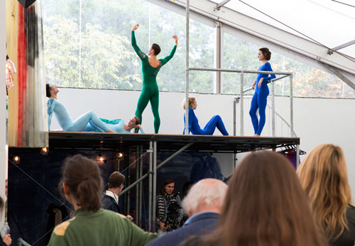 Nick Mauss choreographs dancers from the Northern Ballet. Photograph: Polly Braden. Courtesy of Polly Braden/Frieze, 2014.