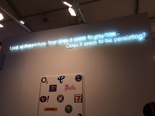 Cerith Wyn Evans. Look at that picture, how does it seem to you now… Does it seem to be persisting? White Cube, Frieze London 2015. Photograph: Celia White.