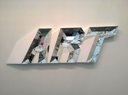 Doug Aitken. ART (white). High density foam, wood, paint and mirror, 30 1/8 x 96 x 3 5/8 in. 303 Gallery, NY.