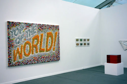 Farhad Moshiri. Top Of The World, 2011. Acrilic, plastic pearls, crystals, glitter and glaze on canvas mounted on board 168 x 250 x 10 cm. The Third Line.