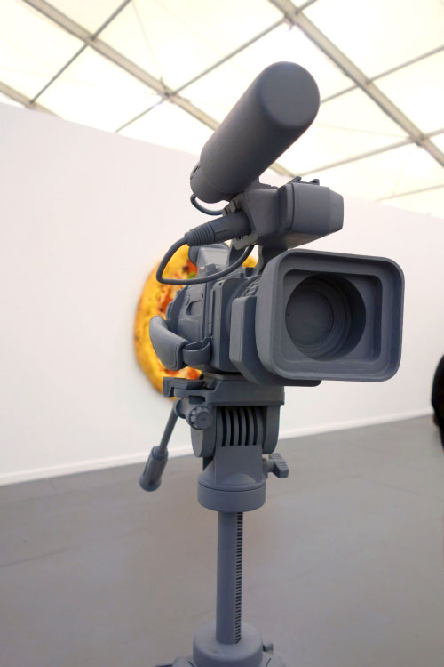 Tom Friedman. Untitled (video camera), 2012. Wood and paint, 63 1/2 x 44 1/2 x 44 1/2 in. Luhring Augustine, NY.