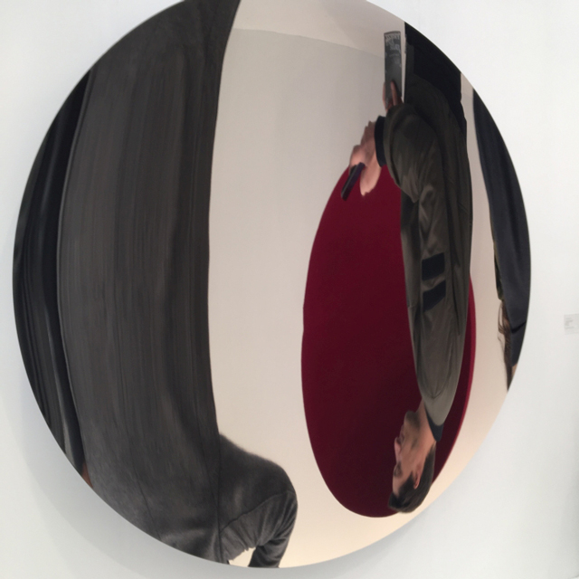 Anish Kapoor, Mirror Glow (Oriental Blue), 2015.  Stainless steel and lacquer, 71 x 71 in. (180 x 180 cm.)  Courtesy Lisson Gallery.