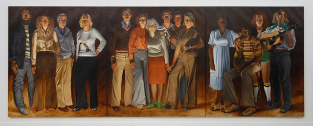 Alfred Leslie, Americans, Youngstown, Ohio, 1977-1978.  Oil on canvas on three panels, 108 x 288 in. / 9 x 24 ft./2.7 x 7.3 m. Bruce Silverstein Gallery. Photograph: Miguel Benavides.