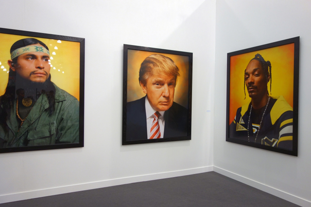 Andres Serrano. America (Cheneke Nanaoxi, Mexican Migrant Worker 2002, Donald Trump 2004, Snoop Dogg 2002,) Cibachrome prints, 45 ¼ x 37 5/8 in. Photograph: Miguel Benavides