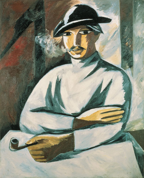 Natalia Goncharova. <em>A Smoking Man,</em> 1911. Oil on canvas, 100 x 81 cm. The State Tretyakov Gallery, Moscow. Photograph © The State Tretyakov Gallery, Moscow