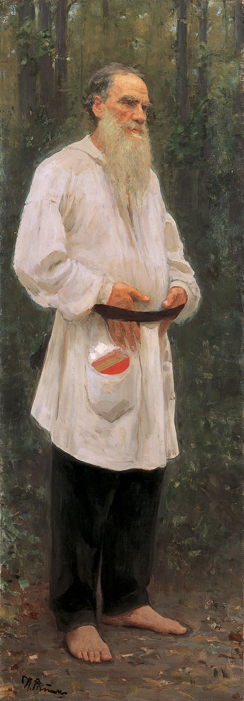 Ilya Repin. <em>Leo Tolstoy Barefoot,</em> 1901. Oil on canvas, 207 x 73 cm. The State Russian Museum, St Petersburg. Photograph &atilde; The State Russian Museum, St Petersburg