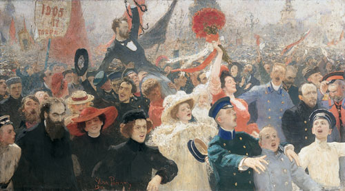 Ilya Repin. <em>October 17, 1905,</em> 1907, 1911. Oil on canvas, 184 x 323 cm. The State Russian Museum, St Petersburg. Photograph © The State Russian Museum, St Petersburg