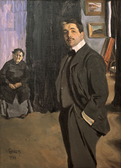 L&eacute;on Bakst. <em>Portrait of Sergei Diaghilev with His Nanny,</em> 1906. Oil on canvas, 161 x 116 cm. The State Russian Museum, St Petersburg. Photograph &copy; The State Russian Museum, St Petersburg
