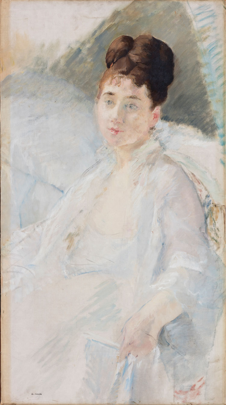 Eva Gonzalès, The Convalescent. Portrait of a Woman in White, 1877-78. Oil and charcoal on canvas, 86 x 47.5 cm. © Ordrupgaard, Copenhagen. Photo: Anders Sune Berg. Exhibition organised by Ordrupgaard, Copenhagen and the Royal Academy of Arts.