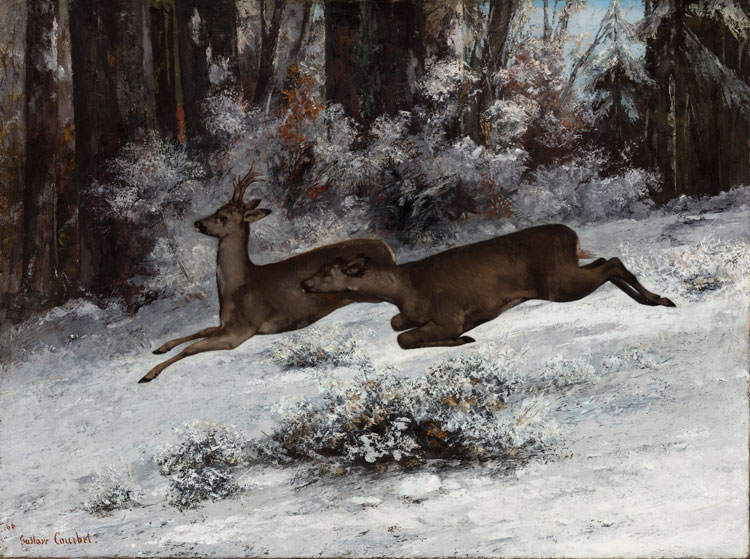 Gustave Courbet, The Ruse, Roe Deer Hunting Episode (Franche-Comté), 1866. Oil on canvas, 97 x 130 cm © Ordrupgaard, Copenhagen. Photo: Anders Sune Berg. Exhibition organised by Ordrupgaard, Copenhagen and the Royal Academy of Arts.