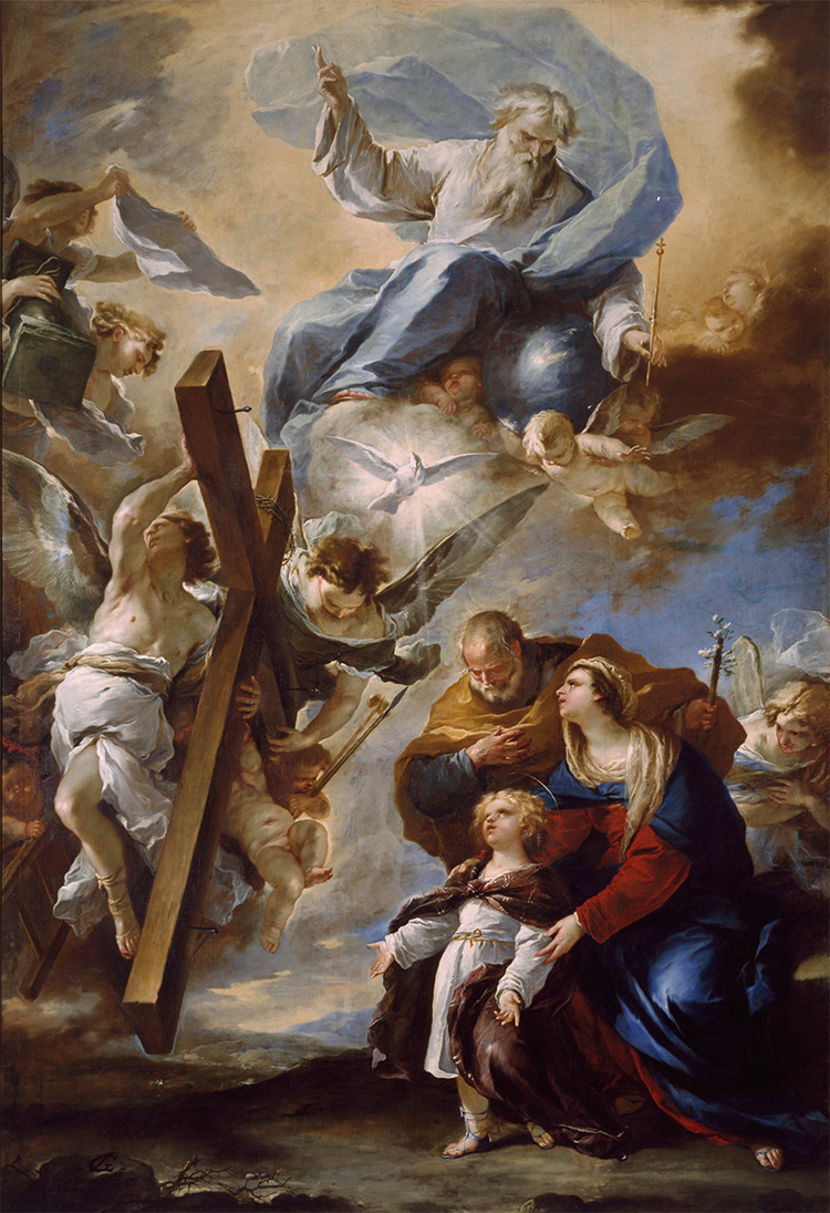 Luca Giordano, Holy Family with the Symbols of the Passion, c1660. Oil on canvas, 430 x 270 cm. Museo di Capodimonte, Naples, Italy © Photo Ministry of Cultural Heritage and Activities / Museo e Real Bosco di Capodimonte.