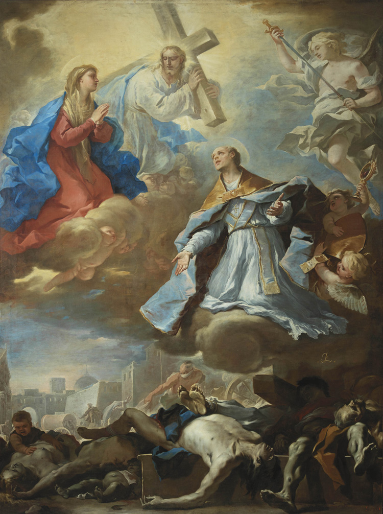 Luca Giordano, Saint Gennaro Intercededing, c1660. Will on canvas, 400 x 315 cm. Museo di Capodimonte, Naples, Italy © Photo Ministry of Cultural Heritage and Activities/Museo e Real Bosco di Capodimonte.