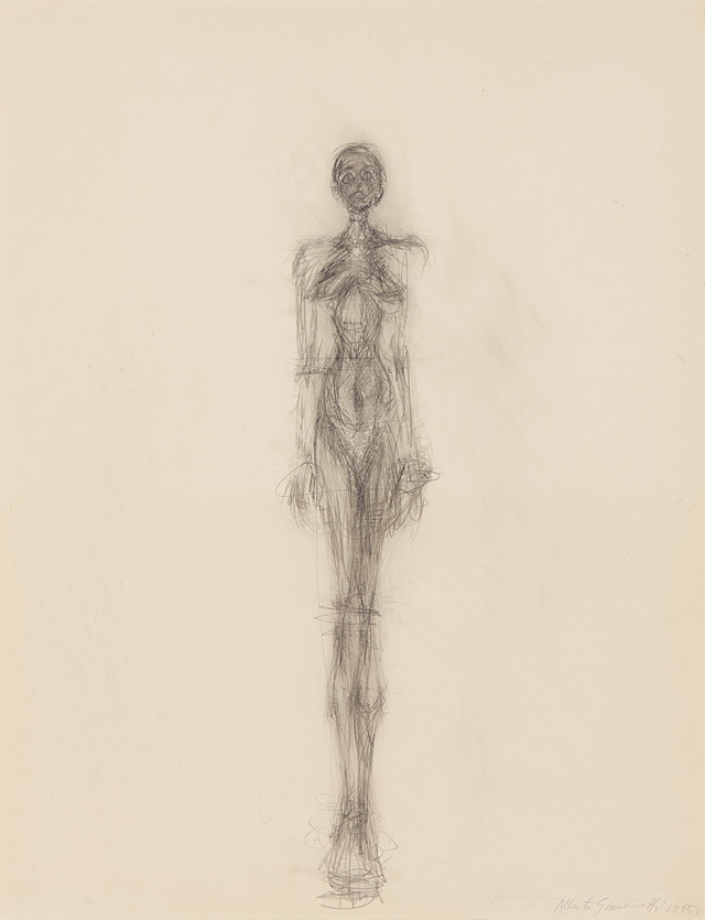 Alberto Giacometti. Standing nude, 1955. Pencil on paper. The Robert and Lisa Sainsbury Collection, Sainsbury Centre for Visual Arts, University of East Anglia, UK, UEA 68. © Estate of Alberto Giacometti/SOCAN (2019).
