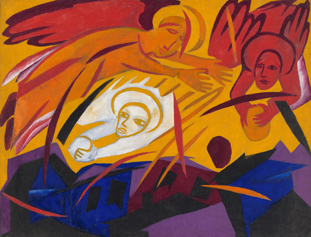 Natalia Goncharova. Harvest: Angels Throwing Stones on the City, 1911. Oil paint on canvas, 100 x 129 cm. State Tretyakov Gallery, Moscow. Bequeathed by A.K. Larionova-Tomilina 1989. © ADAGP, Paris and DACS, London 2019.