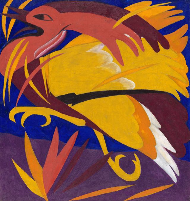 Natalia Goncharova. Harvest: The Phoenix, 1911. Oil paint on canvas, 92 x 97.5 cm. State Tretyakov Gallery, Moscow. Bequeathed by A.K. Larionova-Tomilina, Paris 1989. © ADAGP, Paris and DACS, London 2019.
